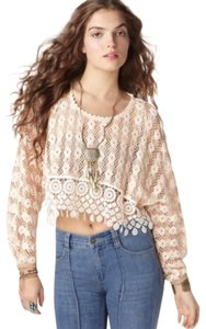 Free People Crochet Boho Lace Cropped Sweater