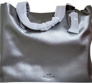 Coach Pebbled Leather Tote in Metallic Silver