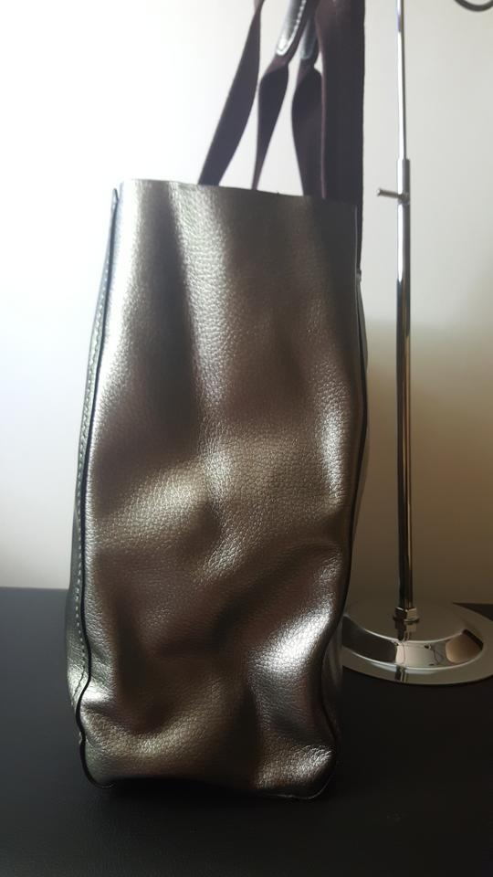 1195f8d3ac80 Coach Large Derby F59388 Metallic Silver Pebbled Leather Tote - Tradesy