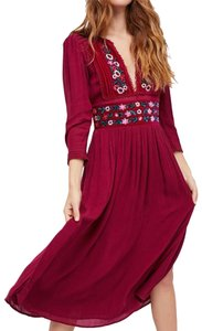 cranberry Maxi Dress by Free People Midi Floral Side Splits