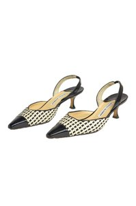 Manolo Blahnik 75421 Raffia Patent Leather Black, White, Beige Pumps