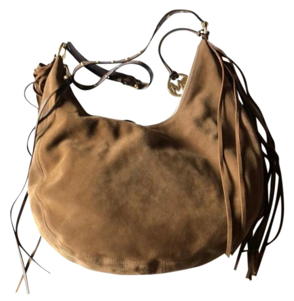 8b196ea974bf11 Michael Kors Rhea Purse Caramel Suede Leather Hobo Bag - Tradesy