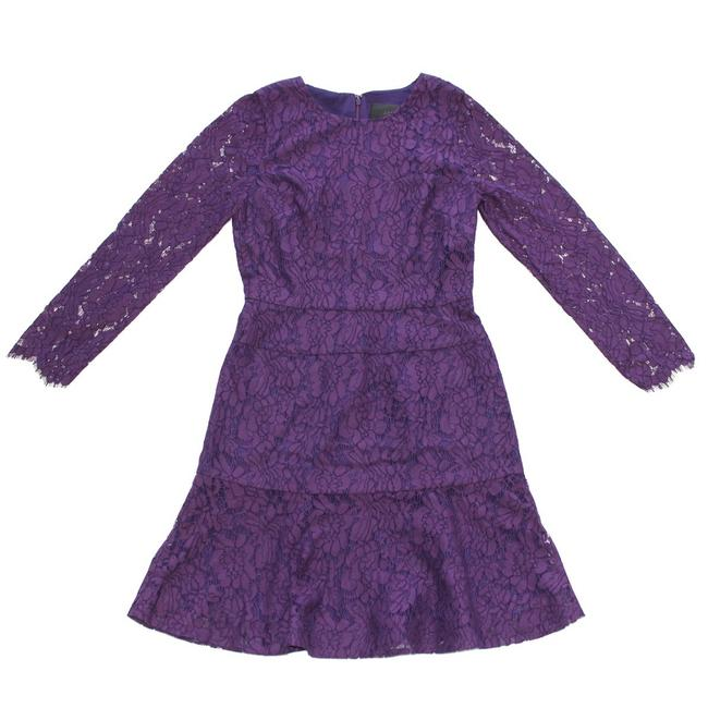 Item - Purple Long-sleeve In Floral Lace T6 Long Cocktail Dress Size 6 (S)