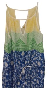 green, blue, white, printed Maxi Dress by Aaron Ashe