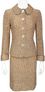 Escada Metallic Tweed L/s Fitted Jacket / Skirt Suit