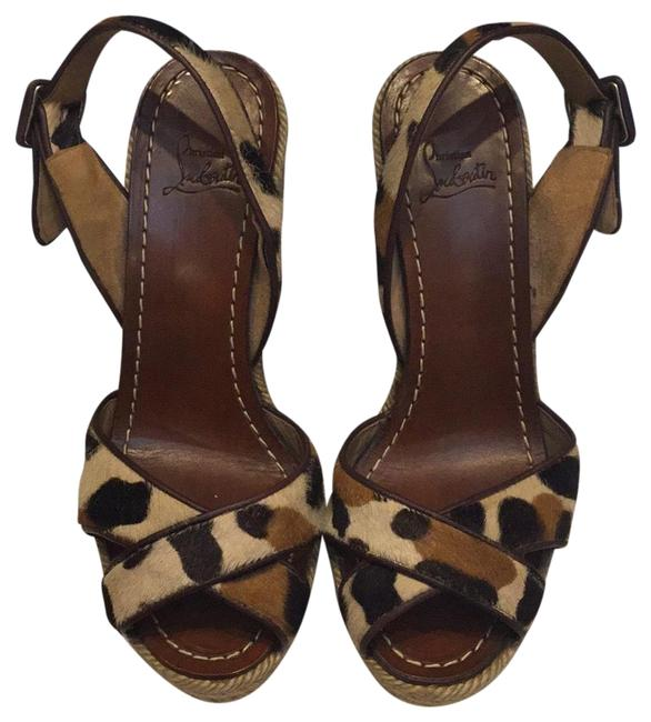 Item - Tan & Black Leopard Strappy Wedge Pumps Size US 5 Regular (M, B)