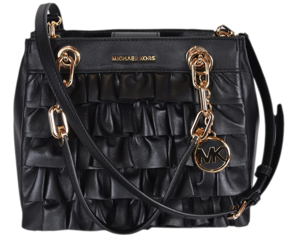 e0779416258f MICHAEL Michael Kors New Small Ruffled Cynthia Black Leather Satchel ...