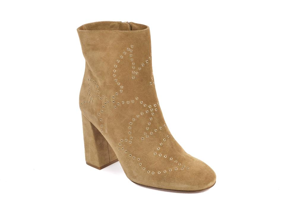 Valentino Gold Brown RED Boots Grommet Suede Ankle Booties Womens OdFqIw