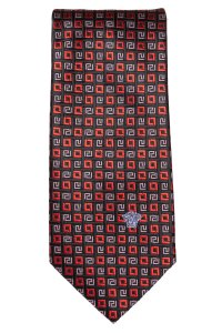 Versace Versace men's black and red silk geometric print tie NWOT