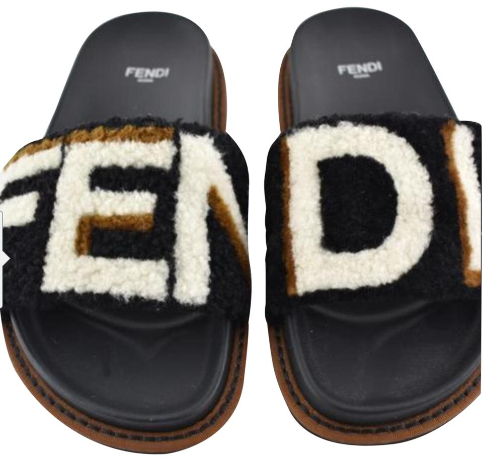 ba3a6d6f1846 Fendi Black Brown White Shearling Fur Ff Logo Mule Slides (Sold Out All  Stores) Sandals