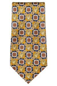 Fendi Fendi men's yellow and navy silk medallion print tie NWOT