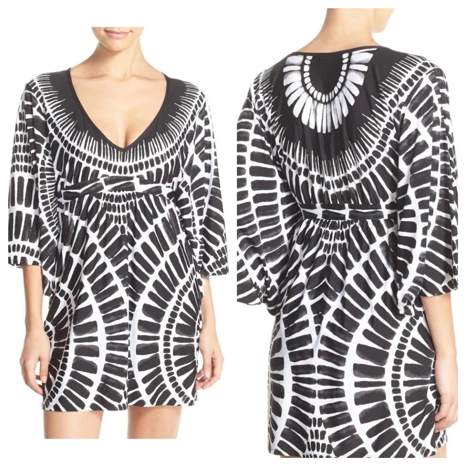 8e3044774d Trina Turk Black Algiers Tunic Dress White Cover-up Sarong Size 2 ...
