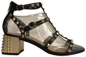 ASH Gladiator Leather Studded Strappy Caged Black Gold Sandals