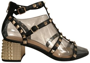 Ash Gladiator Leather Studded New Strappy Black Gold Sandals