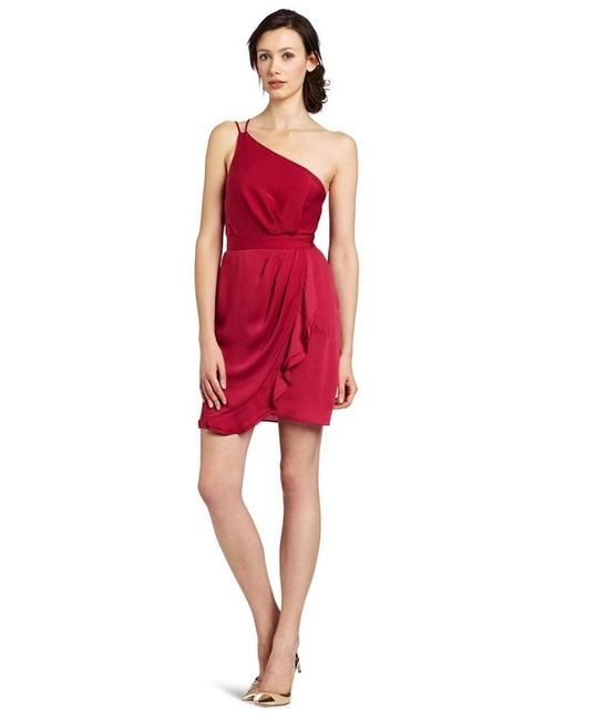 Item - Red Berry One Shoulder Strappy Draped Mid-length Formal Dress Size 10 (M)