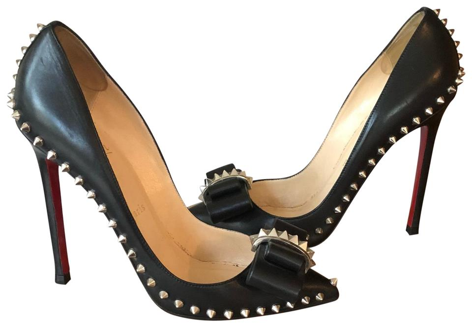 lowest price 6557c a2bcd Christian Louboutin Black Lucifer Bow Spiked Heels Pumps Size EU 37.5  (Approx. US 7.5) Regular (M, B)