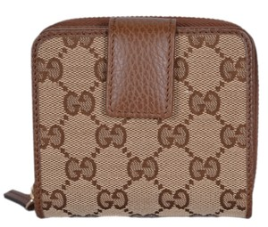 Gucci NEW Gucci Women's 346056 Beige Brown GG Guccissima French Zip Wallet