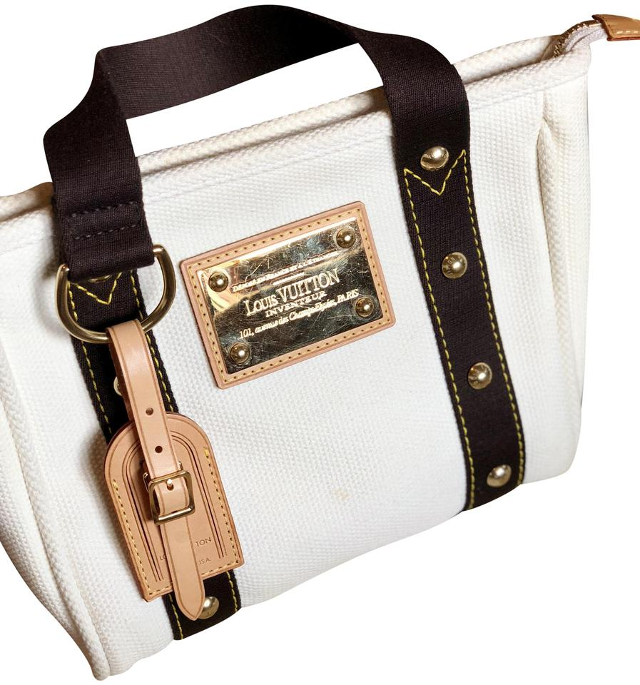 Louis Vuitton Gold Hardware Trim Tote In White And Brown