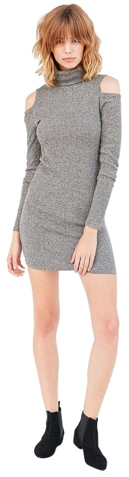 e5dcf5b43b8558 Urban Outfitters short dress Gray Cold Shoulder Ribbed Turtleneck Bodycon  on Tradesy Image 0 ...