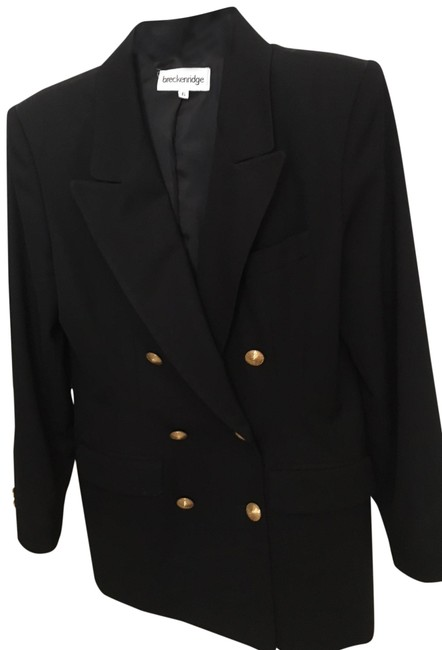 Item - Black Lightweight Wool Double-breasted Brass Buttons Blazer Size 6 (S)