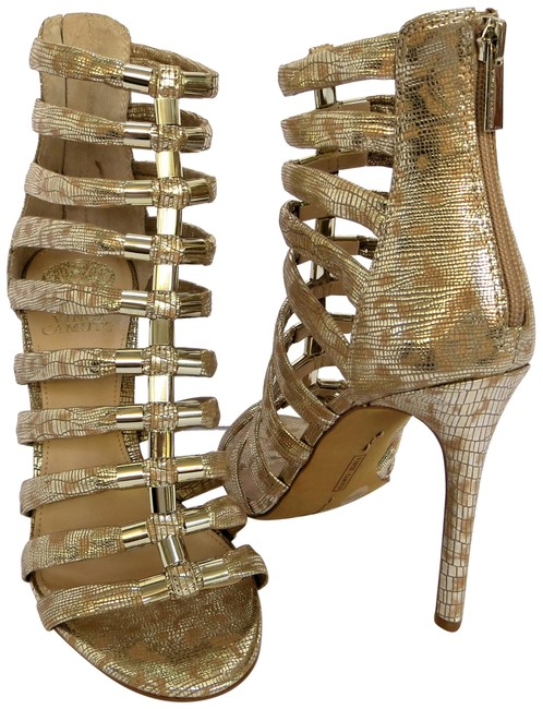 Item - Natural Metallic Gold Silver Troy Caged Gladiator Sandals Size US 8.5 Regular (M, B)
