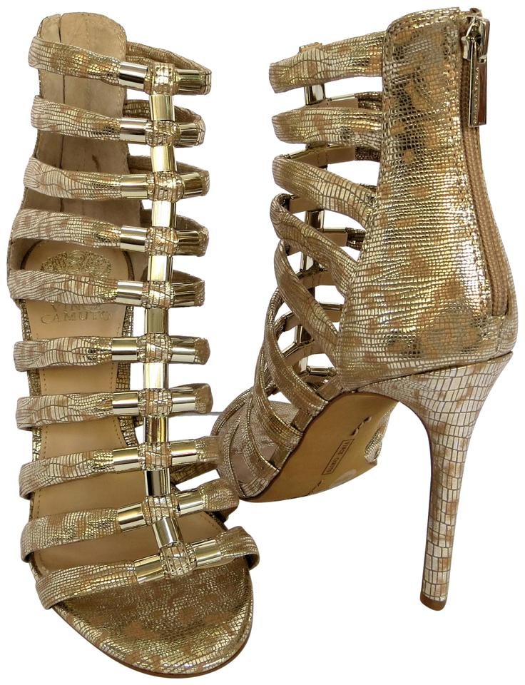 3b15a1078b6 Vince Camuto Glamazon Caged Natural Metallic Gold Silver Sandals Image 0 ...