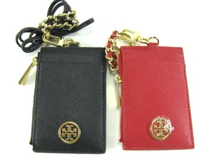 Tory Burch Robinson Leather Lanyard Credit Card Coin Holder Wallet