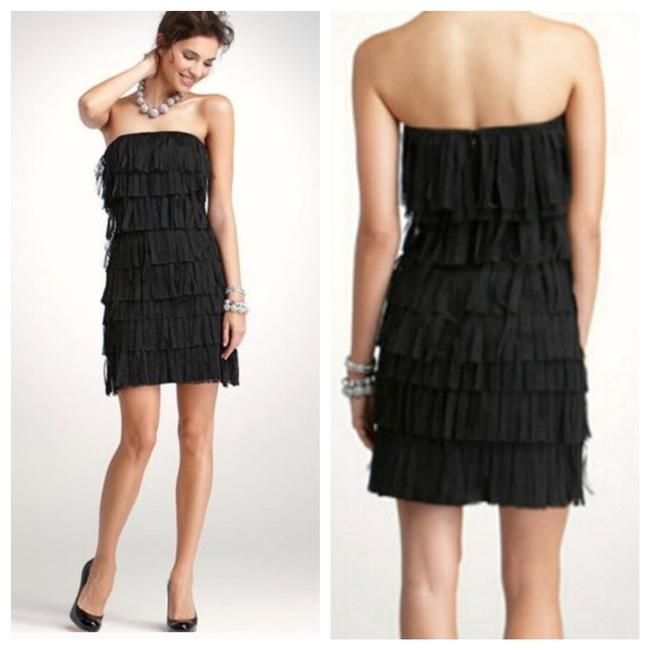 Item - Black Strapless Fringed Tiered Layered Short Night Out Dress Size 6 (S)