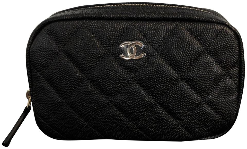 4e1cd5fe137c Chanel Brand New Chanel Small Cosmetic Pouch Black Caviar LGHW 18B Image 0  ...
