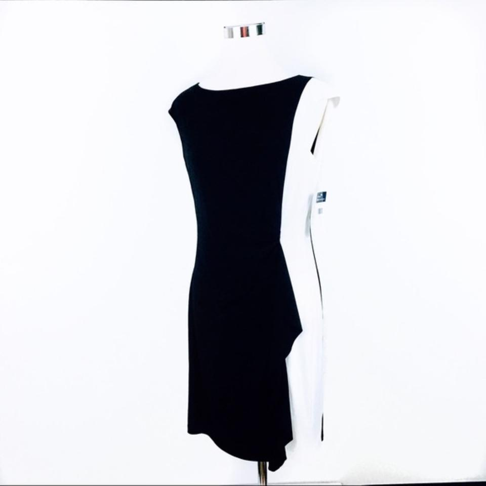ec2b4ef4 Chaps Black White Colorblock Sheath Mid-length Work/Office Dress ...
