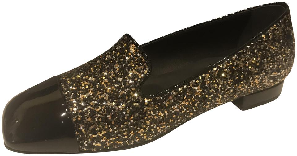 19b62ae0f97a2c Chanel Bronze Black 17k Milky Way Glitter Patent Cap Toe Loafers Moccasins  Flats. Size  EU 35 (Approx. US 5) Regular ...