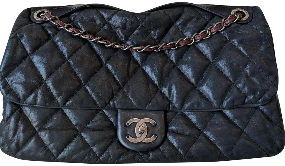 4fa328a72ecb Chanel Extra Large Quilted Soft Flap with Handle Black & Burgundy ...