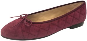 Chanel Ballerina Quilted Cap Toe Bow Sark Pink (Burgundy) Flats