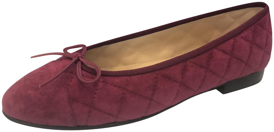 3aa62c93a159 Chanel Ballerina Quilted Cap Toe Bow Sark Pink (Burgundy) Flats Image 0 ...