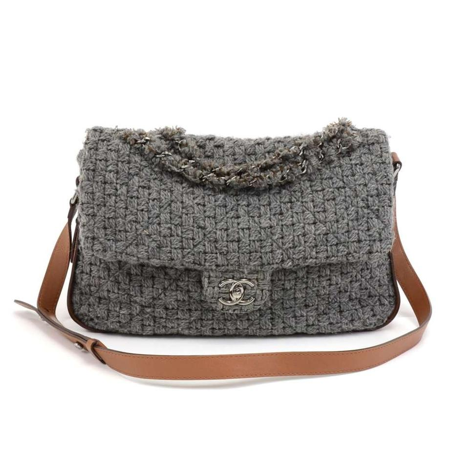 0a7d10e5869 Chanel Classic Flap Gray Quilted & Leather Brown Wool Shoulder Bag ...