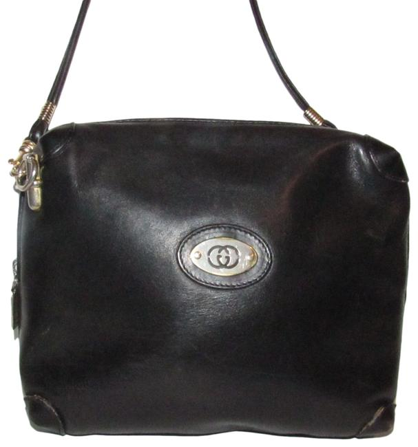 Item - Early Bamboo Web Supreme Two-way Buttery Soft Black Leather with Gold Accents Messenger Bag
