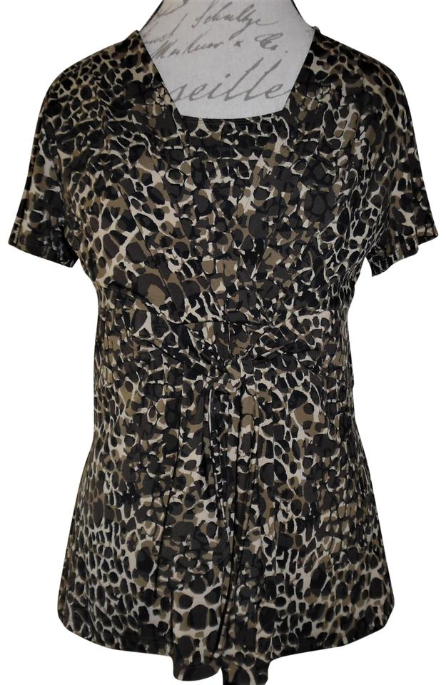 e16b4b7944a20 Alfani Black Beige Tan Abstract Leopard Print Stretchy Tie-front Blouse
