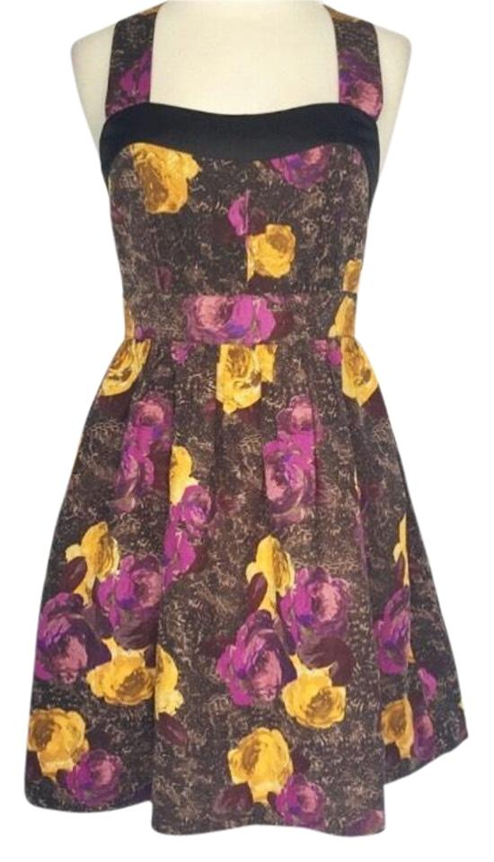 6f95426654 Anthropologie Purple Twinkle By Wenlan Silken Trellis Floral Cocktail Dress