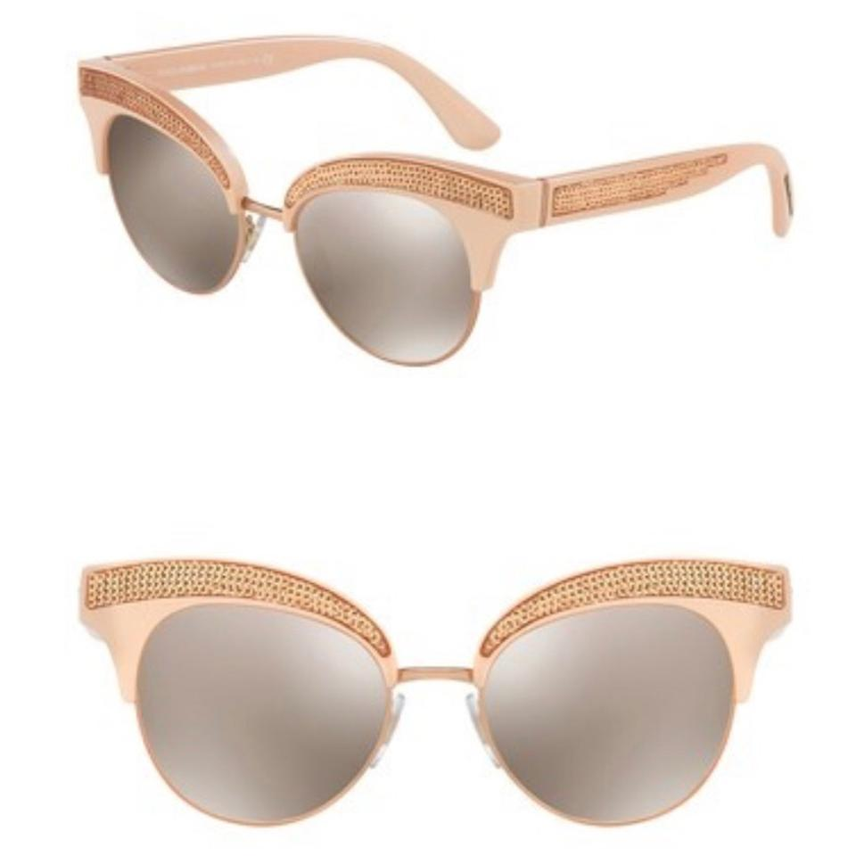 b38fa09d2ee Dolce Gabbana Pink Gold Cat Eye Sequin Sunglasses - Tradesy