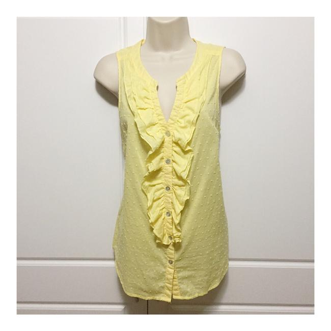 Item - Yellow Dotted Swiss Sleeveless Button-down Top Size 10 (M)
