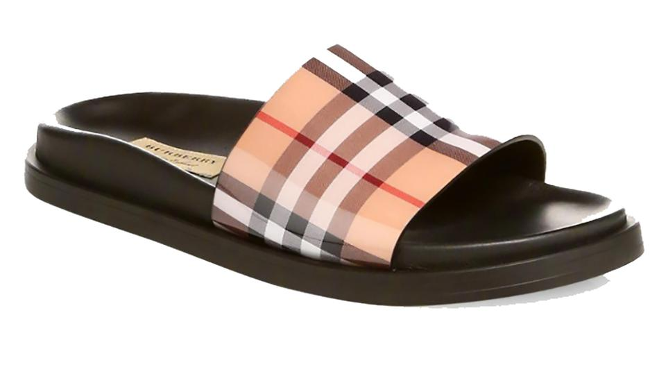 ff3e2452b Burberry Antique Yellow Leather Sole Pool Slides Sandals Size US 5 ...