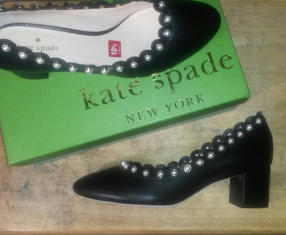 39bf30a8b42f Kate Spade Black Maeve Leather Pearl Studded Pumps Size US 10.5 Regular (M