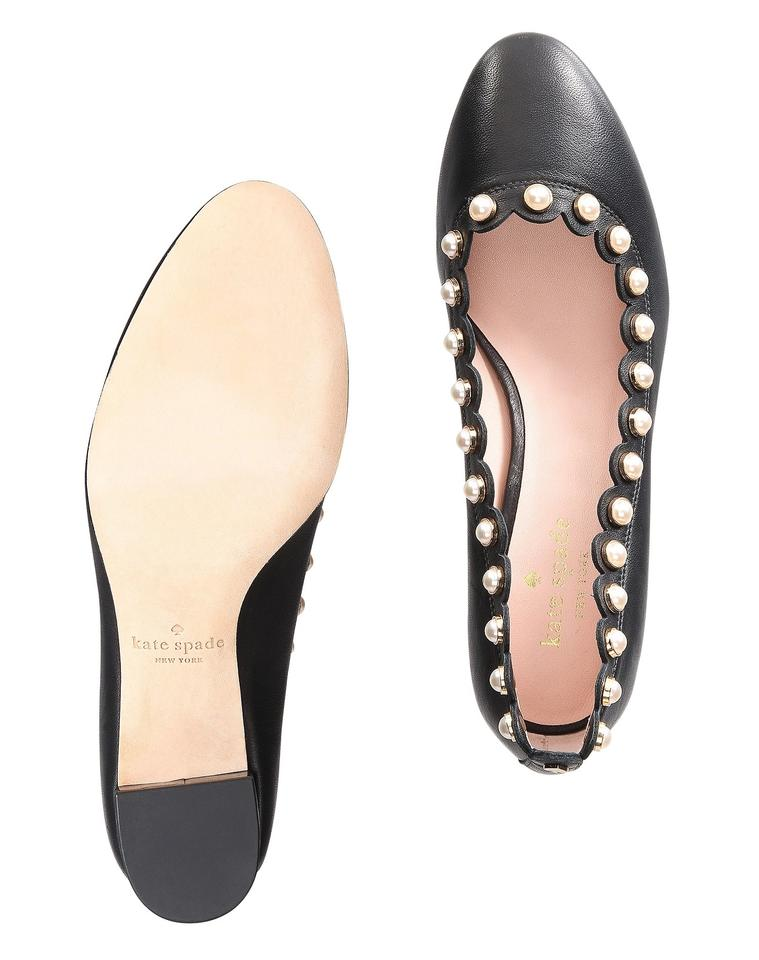 83a2dd981b32 Kate Spade Pearl Scalloped Round Toe Leather Black Pumps Image 9.  12345678910