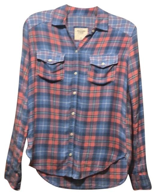 Item - Blue/Pink Flannel Shirt Button-down Top Size 2 (XS)