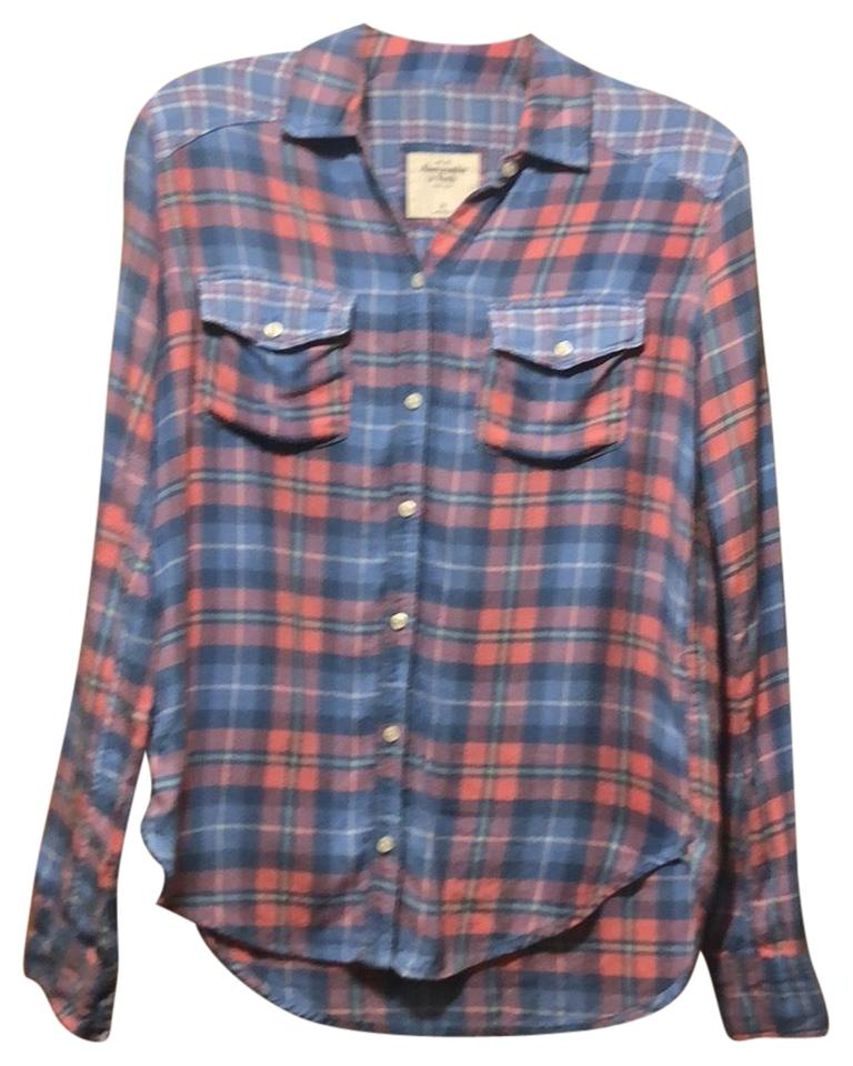 f68f6ad7e42 Abercrombie   Fitch Blue Pink Flannel Shirt Button-down Top Size 2 ...