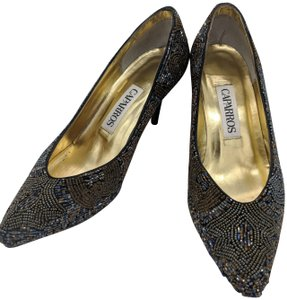 Caparros Beaded Vintage Retro Metallic Pumps