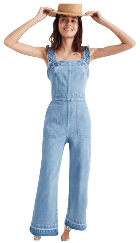 55dd36d96dc Madewell Blue Ruffle Jumpsuit Capri/Cropped Jeans Size 2 (XS, 26 ...