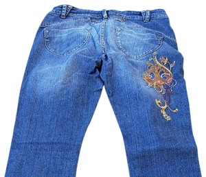 House of Deréon Embroidered Denim Boot Cut Jeans-Medium Wash
