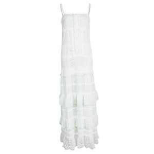 ALICE by Temperley Embroidered Panel Sleeveless Polyester Top White