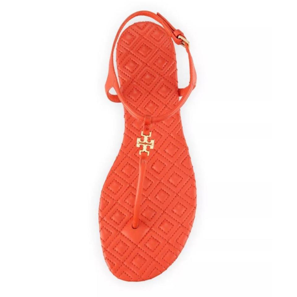 7ea929769fdd9 Tory Burch Orange T Marion Quilted Strap Flat Poppy Coral Leather ...